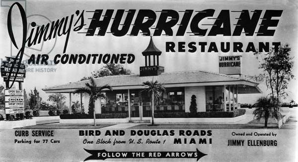Jimmy's Hurricane, a popular drive-in restaurant which operated from 1950 to 1965, c.1955 (litho)