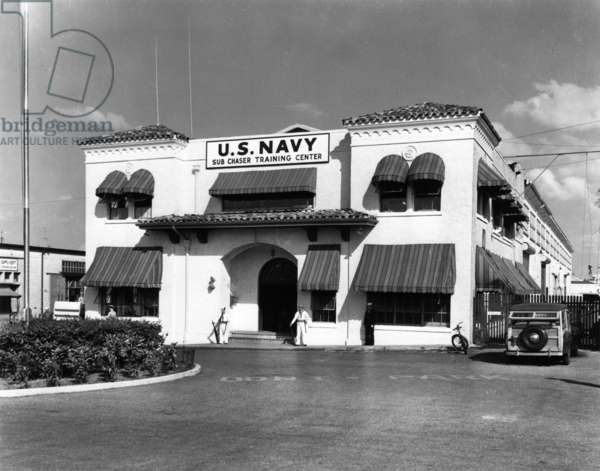 The U. S. Navy Sub Chaser Training Center was located at the Port of Miami, just south of present-day Museum Park, 1943 (b/w photo)
