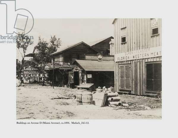 Buildings on Avenue D (Miami Avenue), c.1896 (b/w photo)