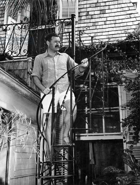 Ernest Hemingway in Key West (b/w photo)