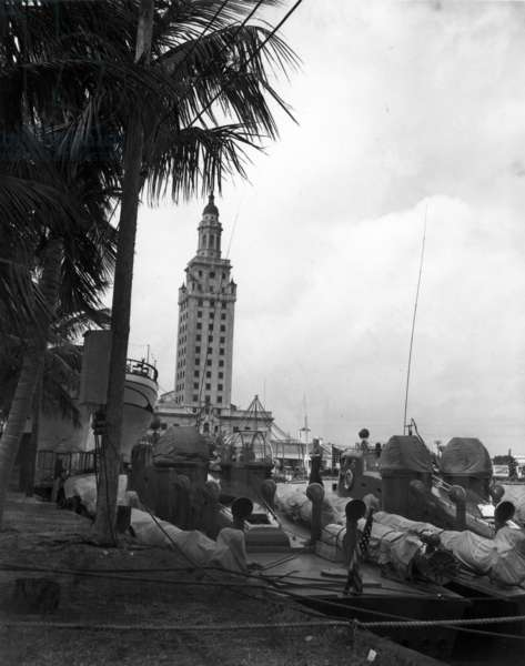 PT boats docked at the Port of Miami (b/w photo)