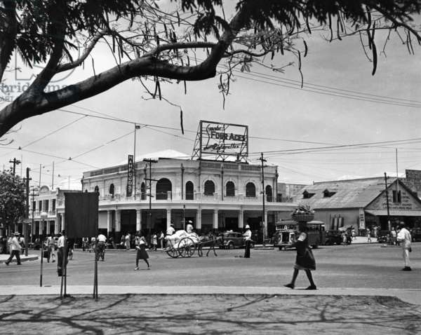 Kingston commercial district at South Parade, Jamaica, c.1950 (b/w photo)