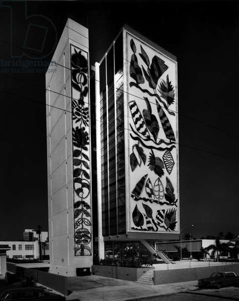 The towers of the iconic Bacardi Building at Biscayne Boulevard and 21st Street, c.1965 (b/w photo)