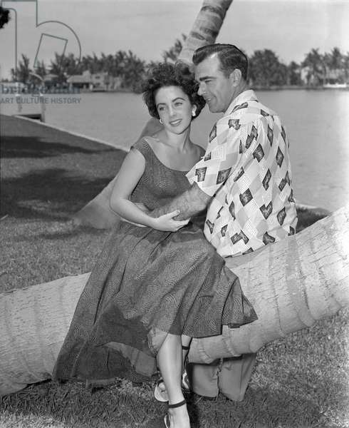 Elizabeth Taylor and William Pawley, Miami Beach, 8 June 1949 (b/w photo)