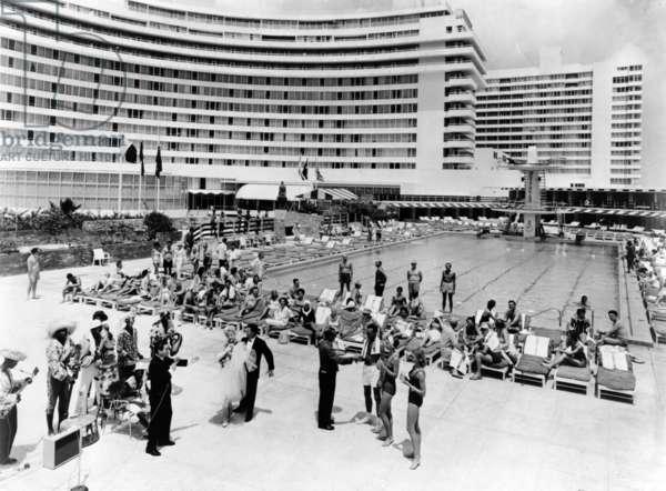 The Fontainebleau originally had an Olympic size pool, Miami Beach, c.1954 (b/w photo)