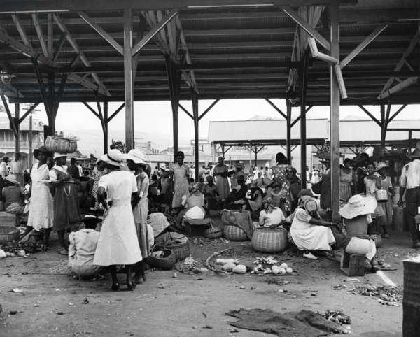 Market vendors selling ground provisions at the Coronation Market, c.1957 (b/w photo)