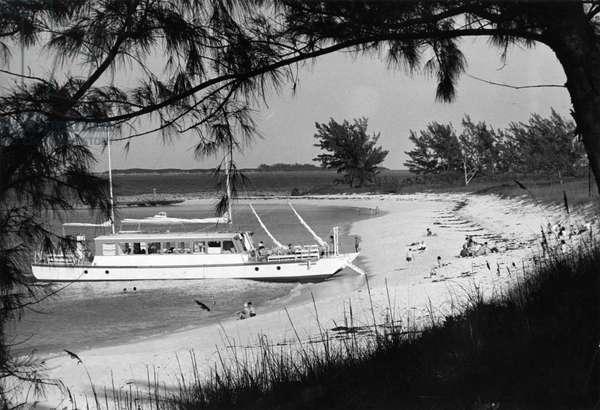 Cabbage Beach on Paradise Island, c.1955 (b/w photo)