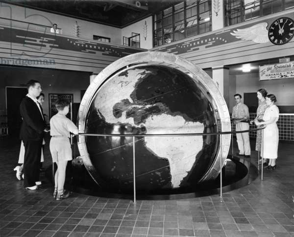 Pan Am globe at Dinner Key, c.1935 (b/w photo)