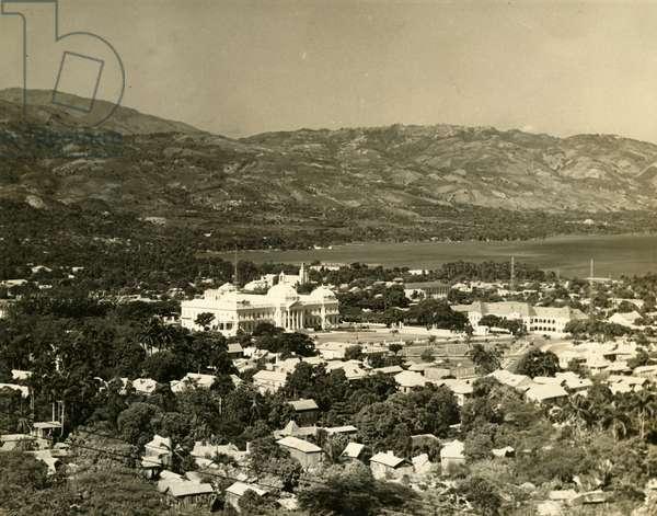Aerial view of Port-au-Prince, c.1955 (b/w photo)