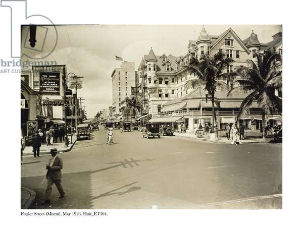 Flagler Street, Miami, May 1924 (b/w photo)