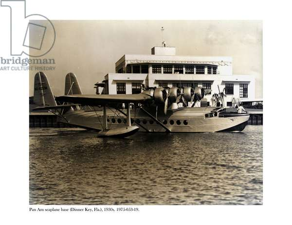 A seaplane at the Pan Am seaplane base, Dinner Key, Florida, 1930s (b/w photo)