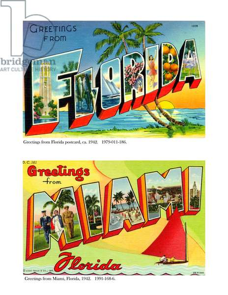Greetings from Florida and Miami, 1942 (colour litho)