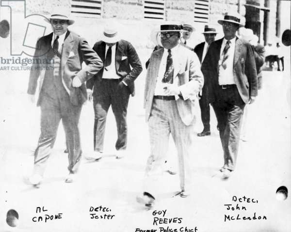 Police and detectives escort Al Capone, c.1930 (b/w photo)