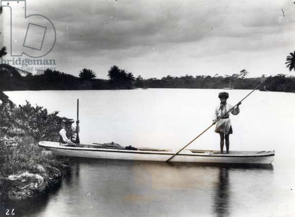 Seminole Indians in a Canoe (b/w photo)