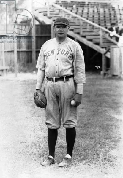 Babe Ruth stands at Miami Field, March 16, 1920 (b/w photo)