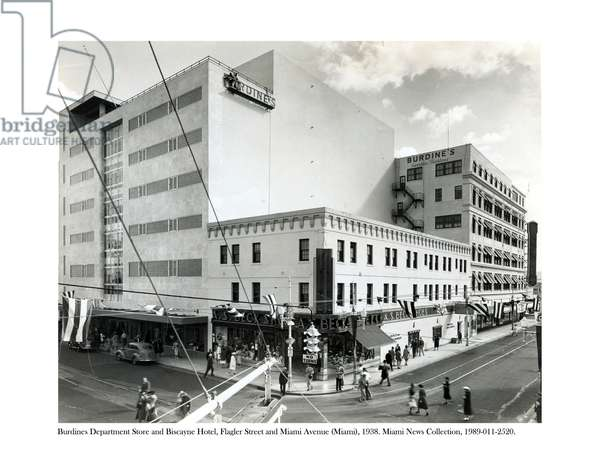 Burdines Department Store and Biscayne Hotel, Flagler Street and Miami Avenue, 1938 (b/w photo)