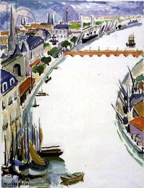 La Gironde, Bordeaux, 1955 (oil on paper)