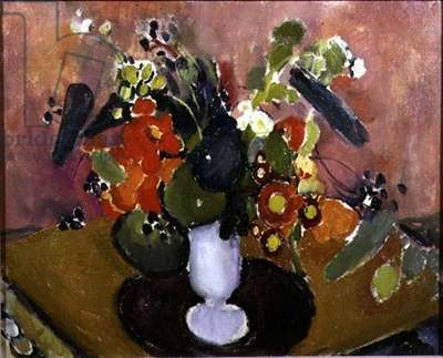 The Spectacles and a White Vase (oil on canvas)