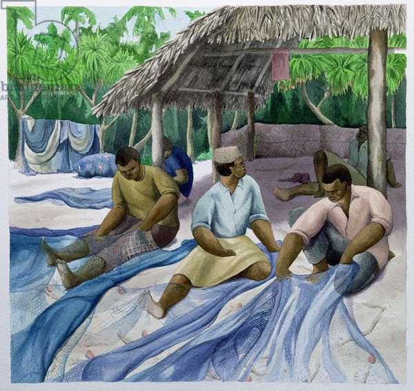 Sorting the Nets, Zanzibar, 1997 (w/c on paper)