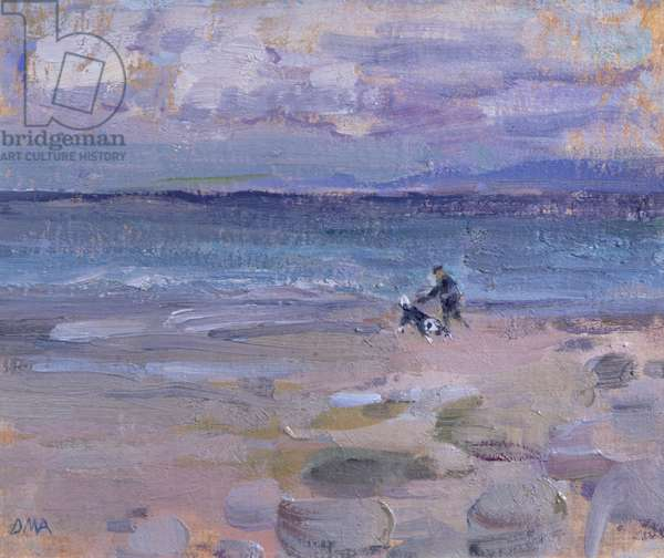 Man & Dog on Friog Beach (oil on board)