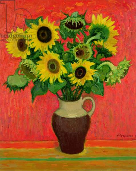 Sunflowers on a Red Background (oil on canvas)