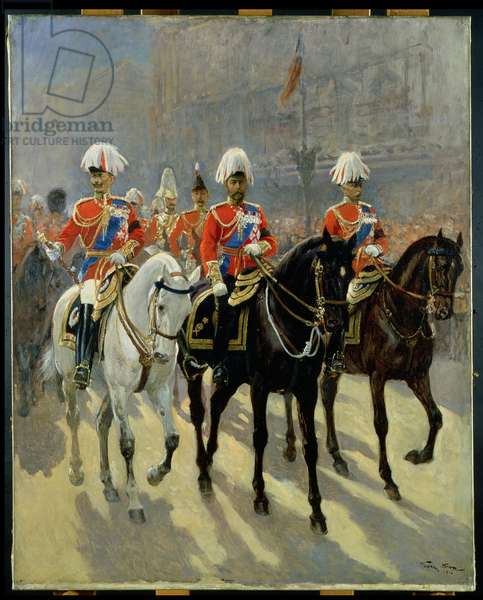 George V (1865-1936) in Procession, 1910 (oil on canvas)
