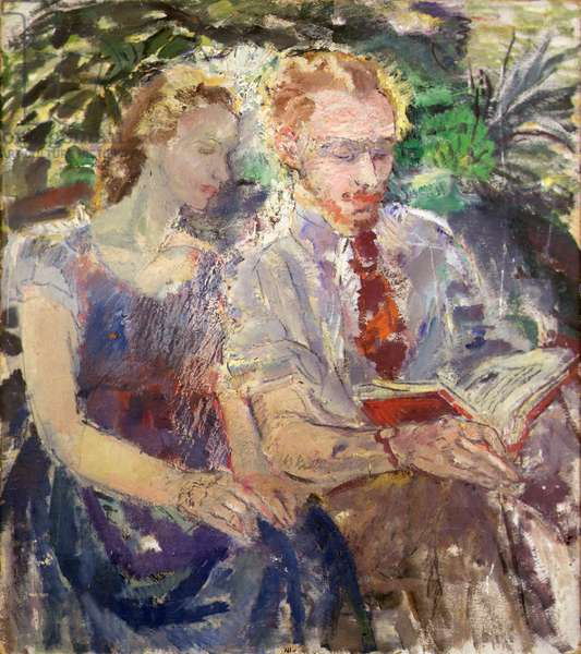 Couple Reading (oil on board)