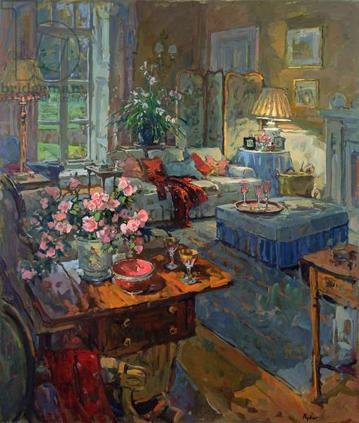 Drawing Room - Winter Afternoon (oil on board)