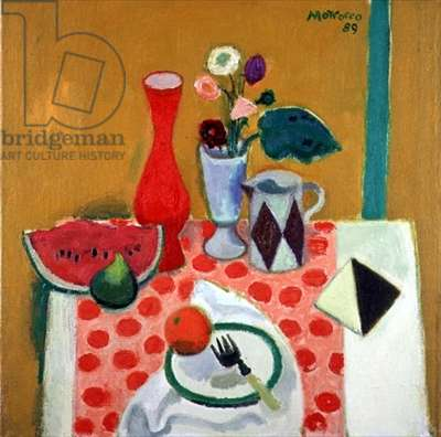 Watermelon, Fig and Tunisian Tile, 1989 (oil on canvas)