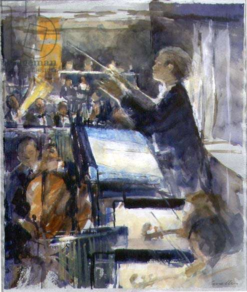 Mark Elder, the Conductor (w/c on paper)