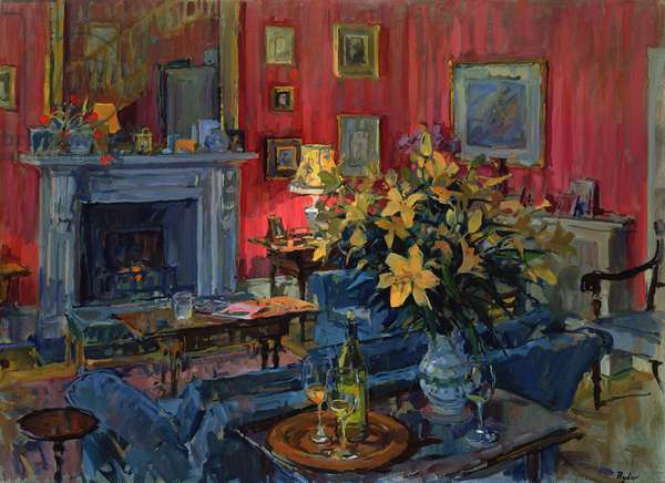 Hearth and Yellow Flowers (oil on canvas)