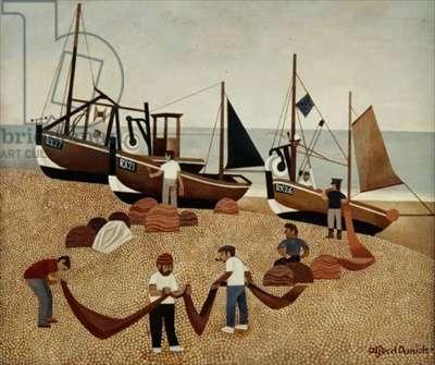 Fishing Boats, Hastings (acrylic on board)