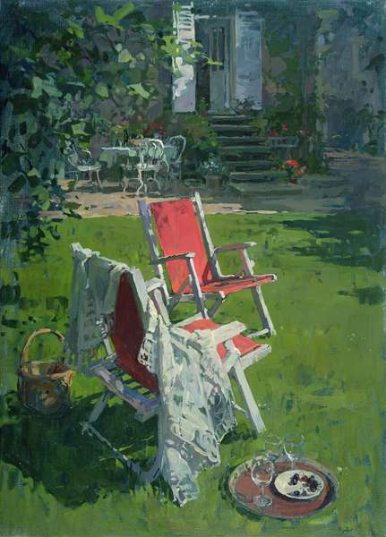 Red Chairs and Chablis (oil on canvas)