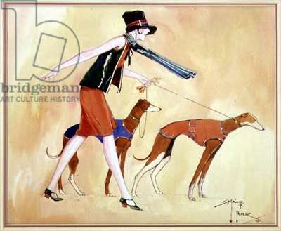 Flapper and Greyhounds, 1927 (w/c on paper)