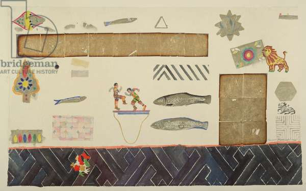 Still Life with Indian Puppets, Fish and Shapes (w/c with gold leaf)