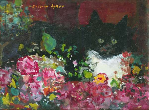 Cat and Flowers (oil on board)