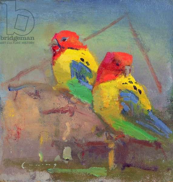 Lovebirds (oil on board)
