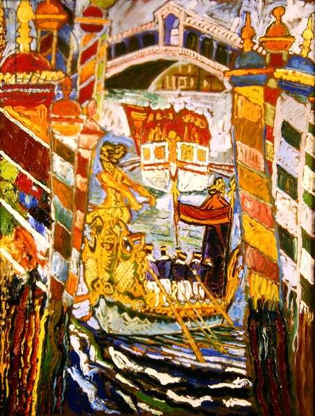 Regatta Boats, Venice (oil on canvas)