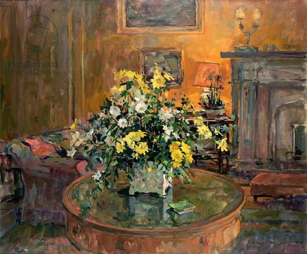 Drum Table with Yellow Flowers (oil on canvas)