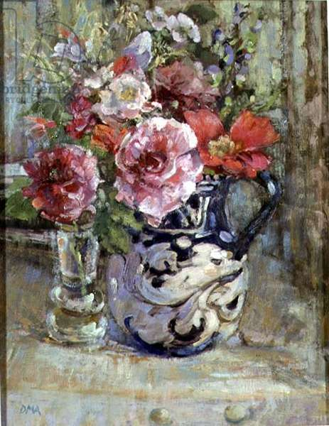 Old Roses in an Orvieto Jug (oil on canvas)