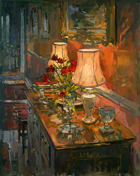 Lamp and Tulips (oil on canvas)
