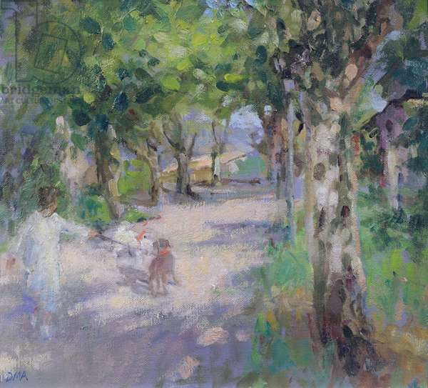 Sunday Walk, Le Barroux (oil on board)