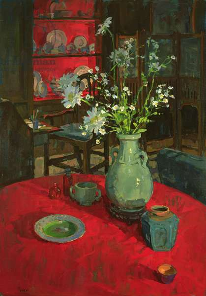 Red Alcove with Daisies (oil on canvas)