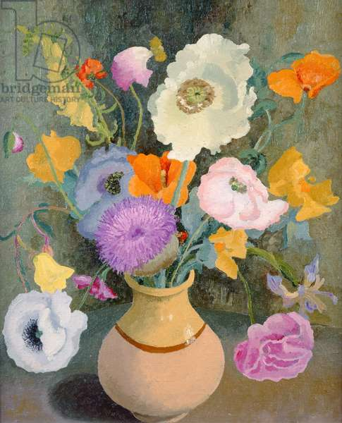 Poppies and Sweet Peas (oil on canvas)