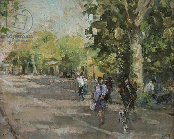 Coming Home from the Train (oil on board)