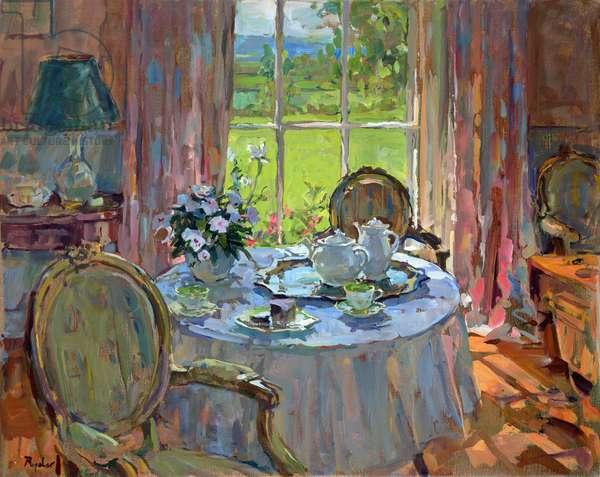 Sunlit Teatime (oil on canvas)