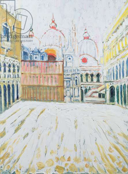 Venice in the Snow (oil on canvas)