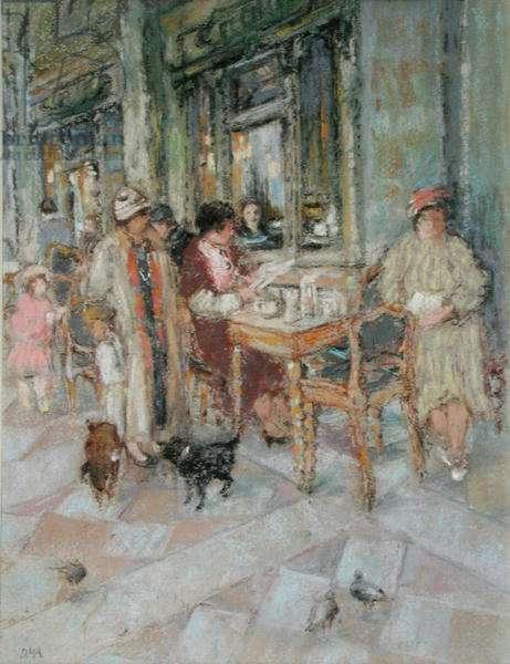 Outside Florians, San Marco, Venice (pastel on paper)
