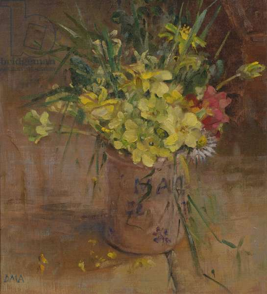 Primroses in the Spice Jar, Llwynhir (oil on board)