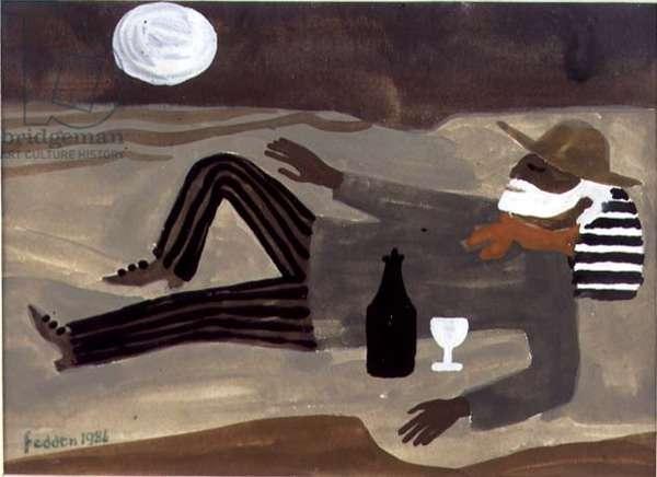 Julian Trevelyan (1910-88) sleeping on a Beach, 1986 (w/c)